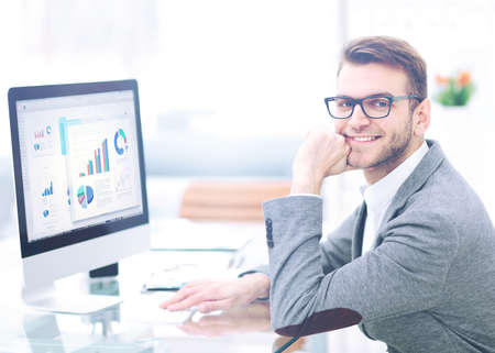 office man: Handsome business man working  in office Stock Photo