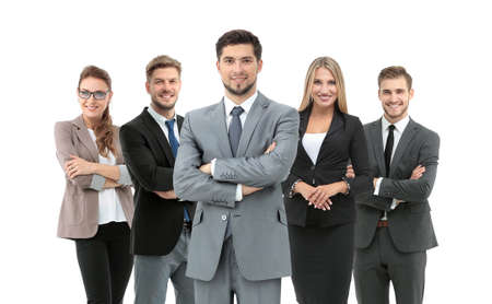 Group of smiling business people. Isolated over white background 스톡 콘텐츠