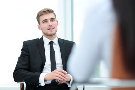 collegue: Portrait of confident business man talking with his collegue Stock Photo