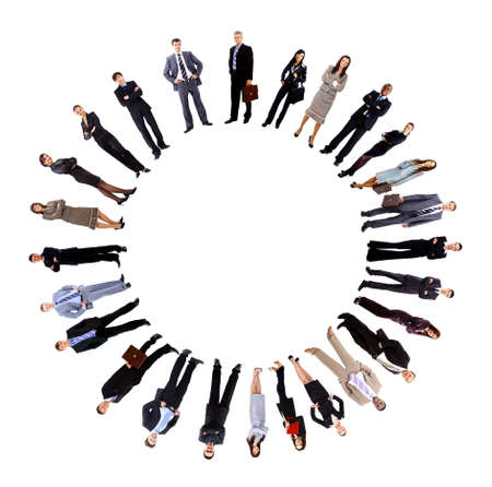 Collage of business people standing around an empty circle photo