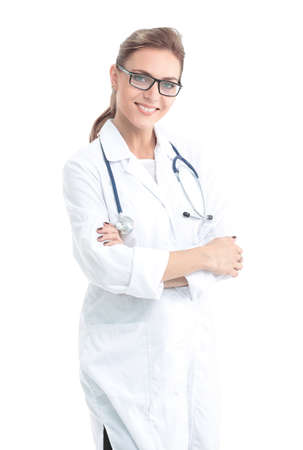 Confident female doctor looking at camera ang smiling. Stock Photo