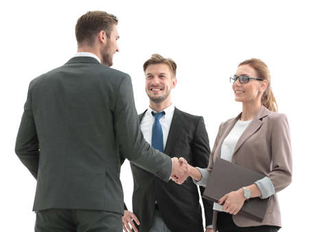 concluding: Close up of business handshake in the office