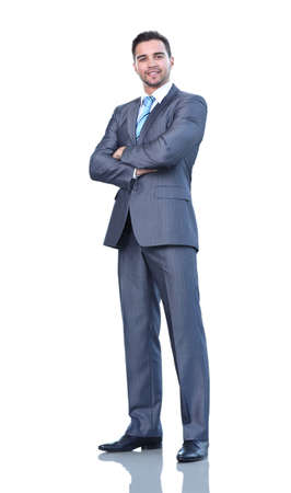 swanky: Full length of a business man with crossed arms isolated on whit