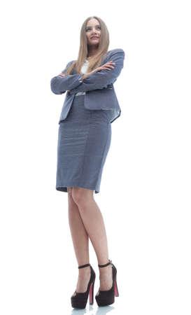 vue de dessous. Femme d'affaires confiante