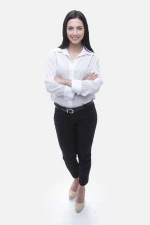 modern young business woman in white blouse and black pants