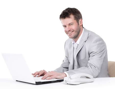 Portrait of happy business man posing with copy space Stock Photo