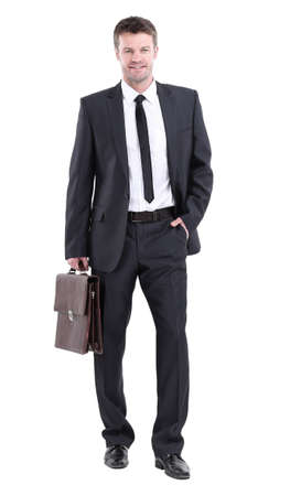 Full length of young successful manager smiling isolated on white