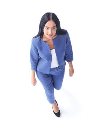 company: Top view of a young businesswoman.Isolated on white background. Stock Photo