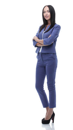 company: Confident young businesswoman standing with hands in pocket, loo