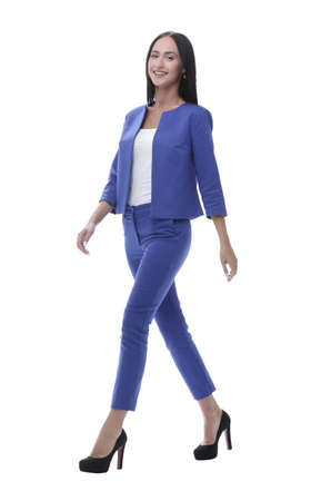 company: Full body length portrait businesswoman isolated over white stud