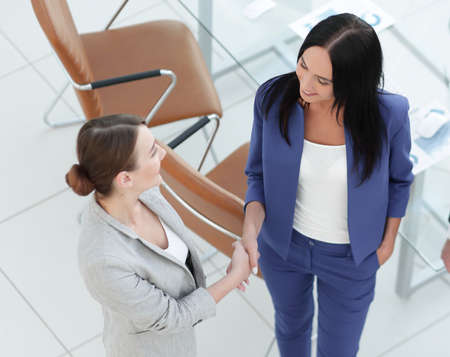 company: Business people handshake in modern office. Greeting deal concep