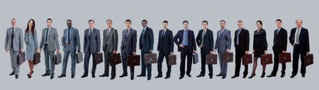Business team with their  briefcase  in a single line against wh