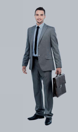 cute guy: Full body portrait of happy smiling business man, isolated on white background