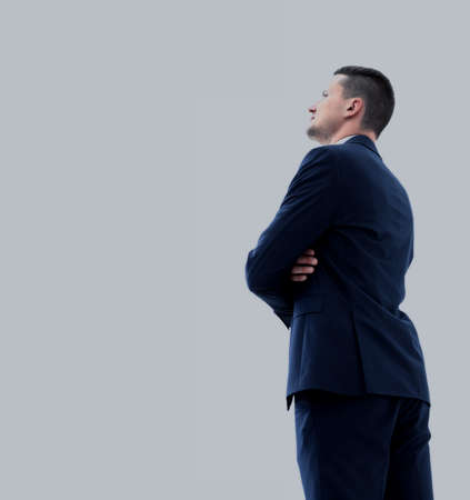 Business man looking at something  isolated on white background Imagens