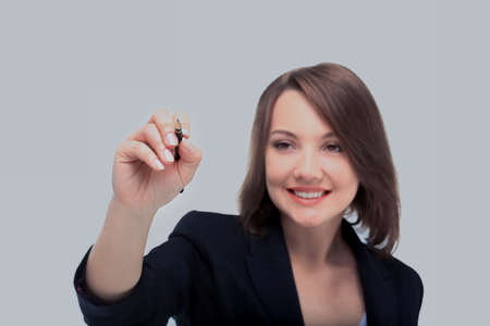 Young businesswoman with pen isolated on white background Stok Fotoğraf
