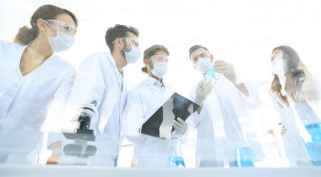 scientists working with test tubes and microscope in the laboratory Stock Photo