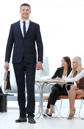 portrait of a practising lawyer in the background of the office. business people Stock Photo