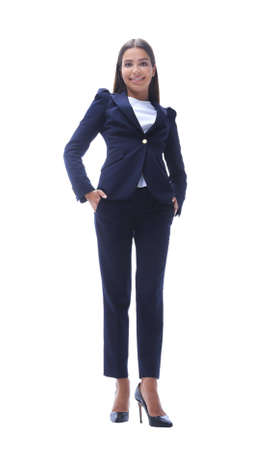 bottom view of confident business woman