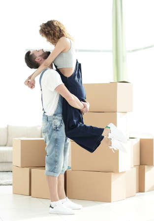 realestate: Portrait of a happy couple moving to a new house