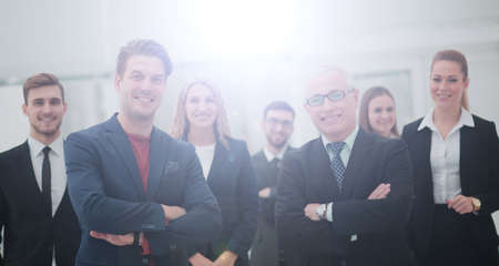 The team of the successful people with their boss Stock Photo