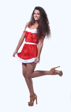 black-haired woman in Santa Claus granddaughter dress