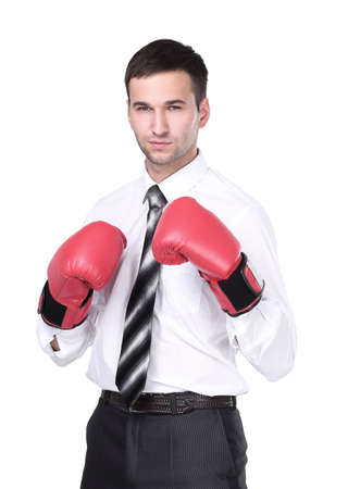 Business man with boxing gloves is ready for corporate battle. 免版税图像