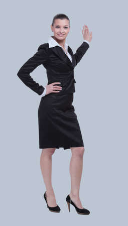 Portrait of smart young successful businesswoman and suit Stock Photo