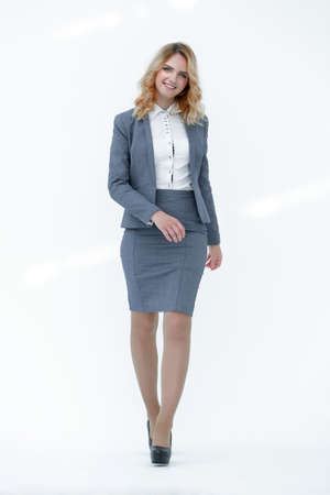 modern business woman stepping forward. Stock Photo