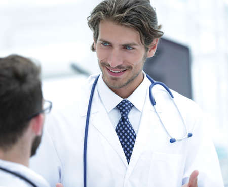 Group of doctors talking Stock Photo