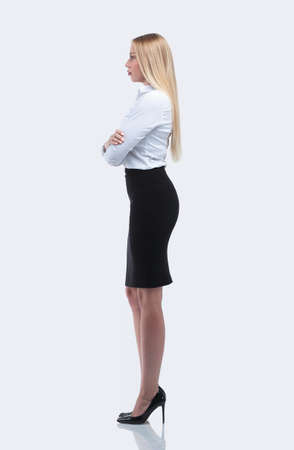 side view.full-length portrait of a responsible business woman.