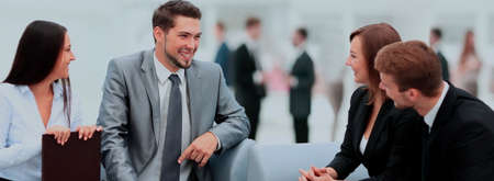 Happy business people talking on meeting at office Imagens - 91907746