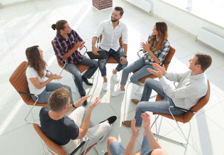 creative team holds a meeting in the lobby Stock Photo
