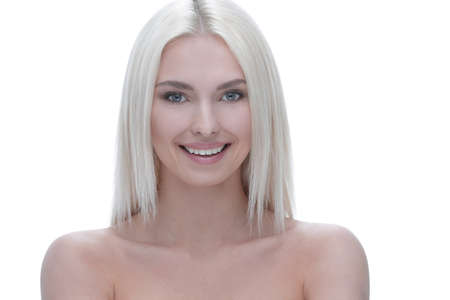Face of a well-groomed modern young woman with proper make-up Stock fotó