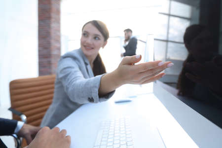 modern business woman talking with a client Stock Photo