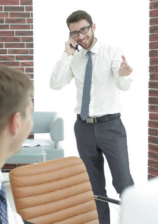 businessman communicating on the mobile Stock Photo