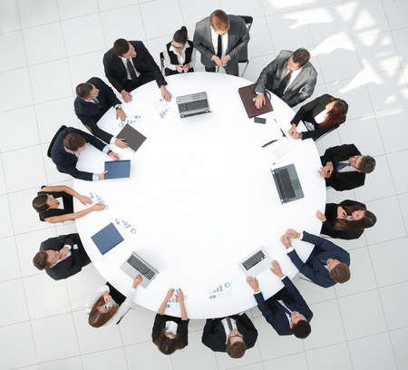view from the top.meeting business partners for round - table.photo with copy space.