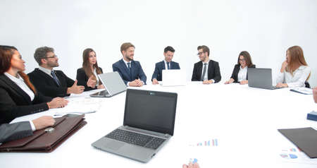 meeting of shareholders of the company at the round - table. Фото со стока