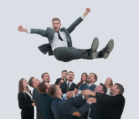 Group of jubilant business people jumping for joy and shouting i Banco de Imagens - 92910846