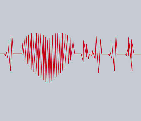 Cardiogram pulse trace and heart concept for cardiovascular medical exam. Banque d'images