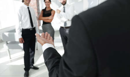 closeup. businessman holding out hand for a handshake. Banco de Imagens