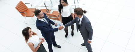 view from the top.the handshake business partners
