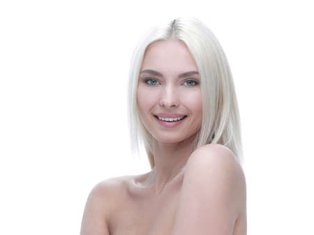 Face of a well-groomed modern young woman with proper make-up Stock Photo