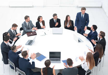 business people applauding speaker at a business meeting. Archivio Fotografico