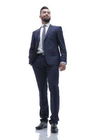 in full growth. businessman with crossed arms Stock Photo