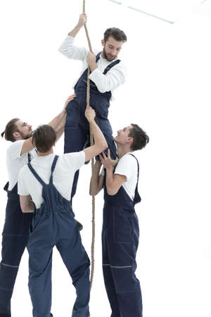 group workers help the companion to climb up