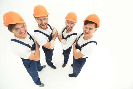 group of professional builders, looking at the camera Stock Photo