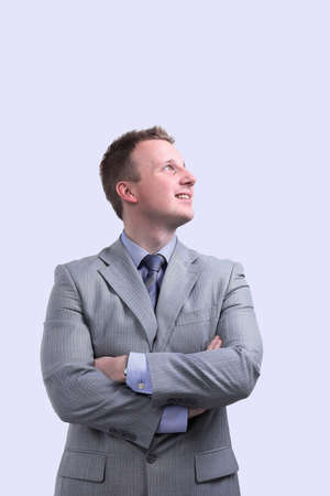 businessman looking at blank space. Stok Fotoğraf