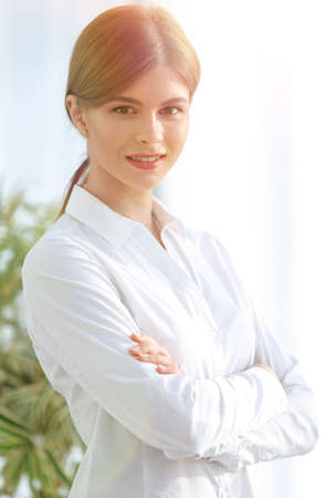 closeup portrait of young business lady Standard-Bild
