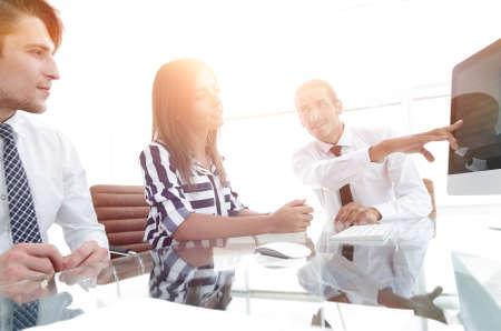 business team discussing sales statistics