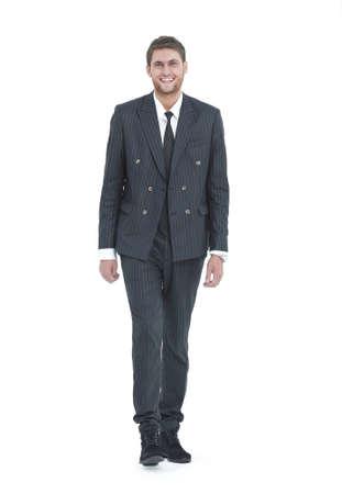 full growth.portrait of smiling modern businessman